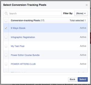 Facebook Power Editor Conversion Pixels Select