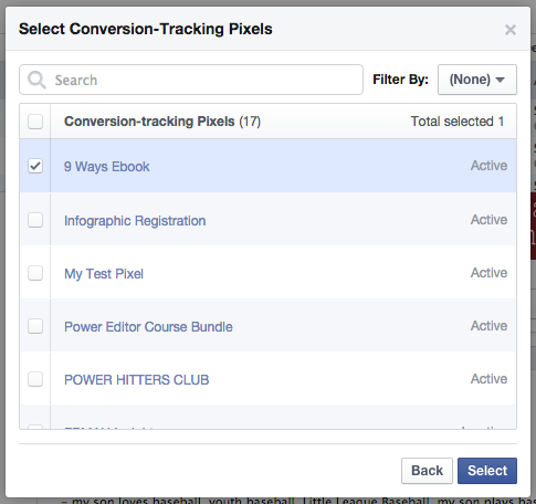 Facebook Power Editor Conversion Pixels Select