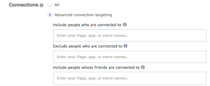 Facebook Power Editor New Ad Set Audience Edit Advanced Connection Targeting