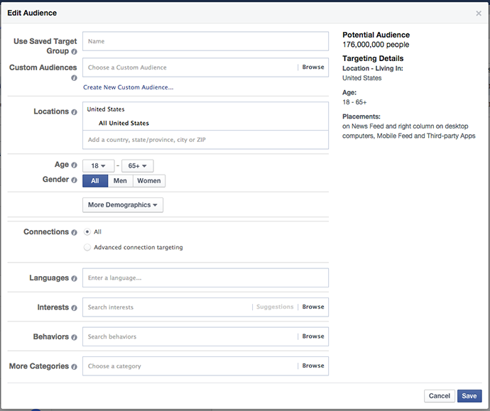 Facebook Power Editor New Ad Set Audience Edit