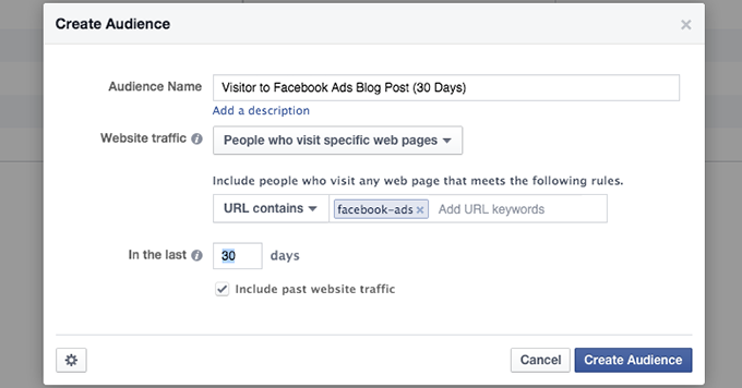 Facebook Website Custom Audience Category