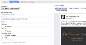 Facebook Website Custom Audience Exclude