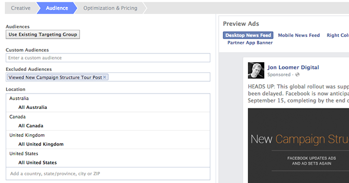 Facebook Website Custom Audience Exclude