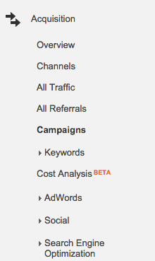 Google Analytics Acquisition Campaigns