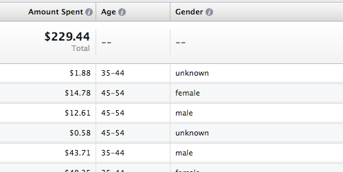 Facebook Ad Reports Age and Gender