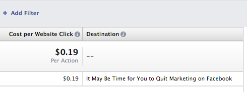 Facebook Ad Reports Destination