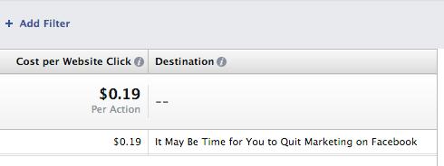 Facebook Ad Reports Destination