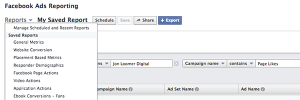 Facebook Ad Reports Save