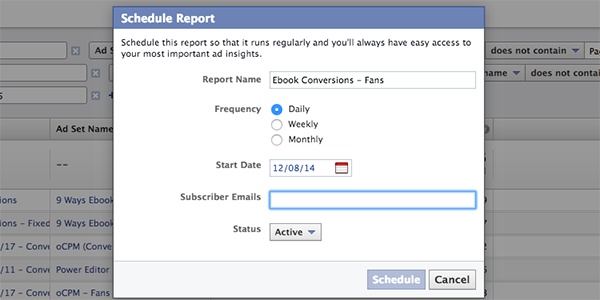 Facebook Ad Reports Schedule