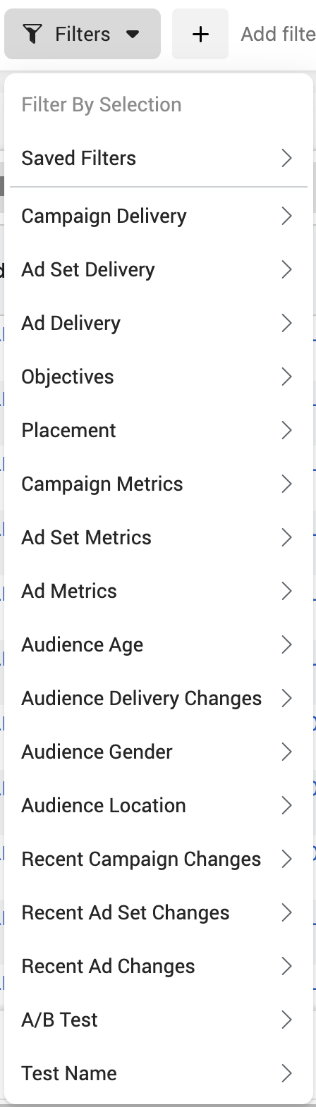 Facebook Ads Manager Filters