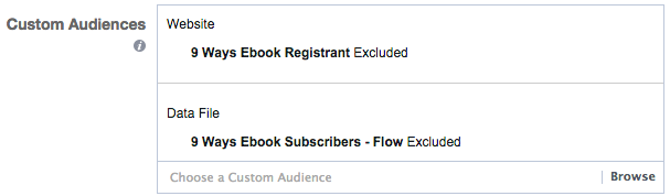 Facebook Custom Audience Exclusions
