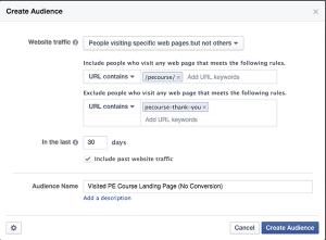 Facebook WCA Include Exclude