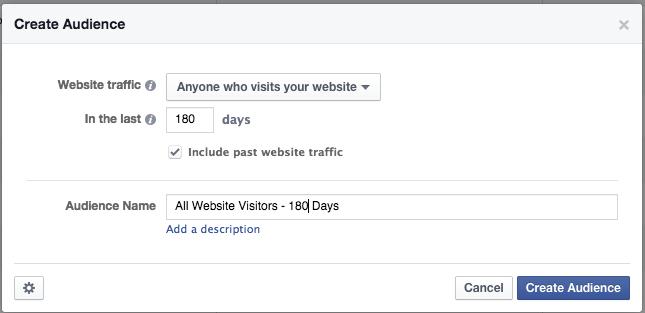 Facebook Website Custom Audience 180 Days