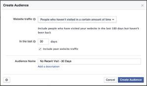 Facebook Website Custom Audience Re-engage