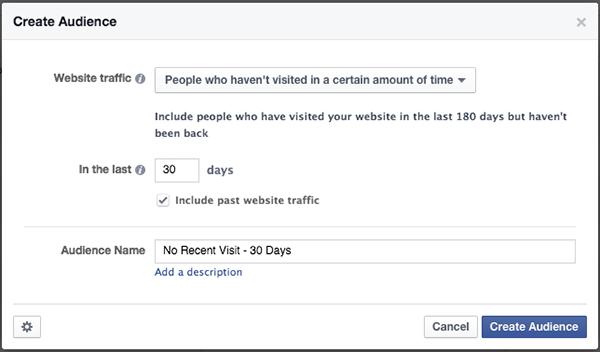 Facebook Website Custom Audience Re-engage