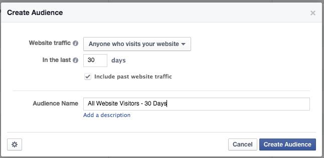 Facebook Website Custom Audiences All Website Visitors