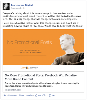 No More Promotional Posts Facebook Post
