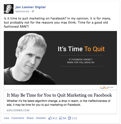 Time to Quit Facebook Post