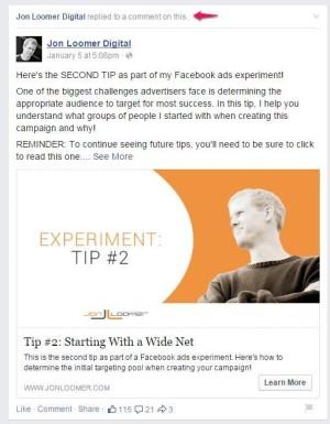Facebook Ads Experiment Organic