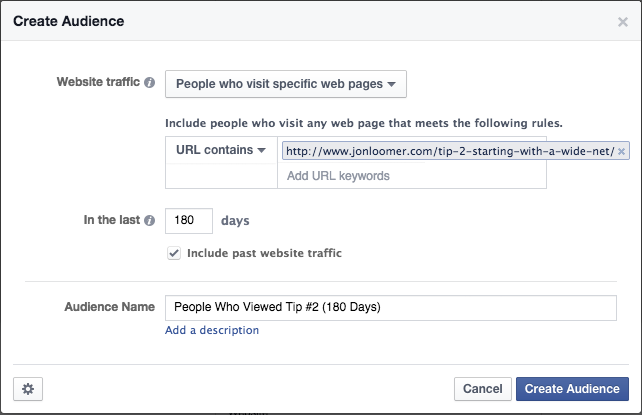 Create Website Custom Audience Single Page