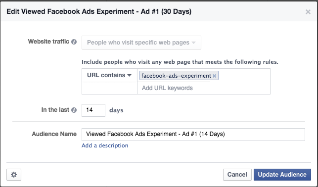Facebook Ad Experiment Tip 1 Targeting