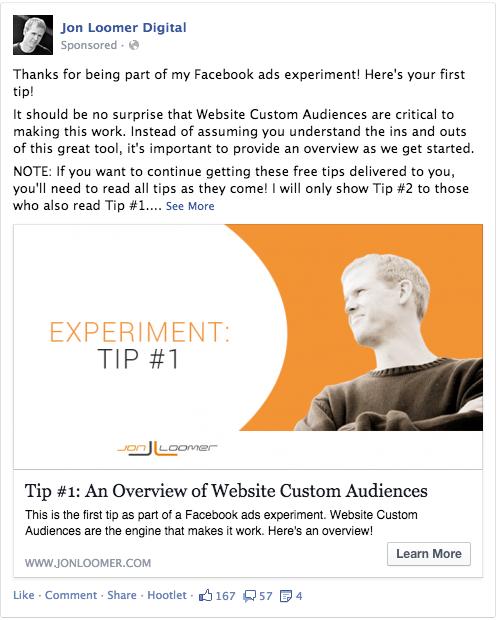 Facebook Ad Experiment Tip 1