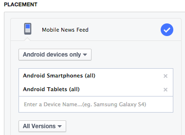 Facebook Ad Placement Android Only