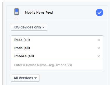 Facebook Ad Placement iOS Devices Only