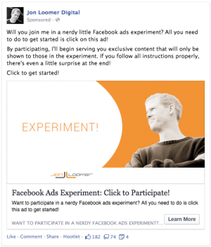 Facebook Ads Experiment Invitation Ad