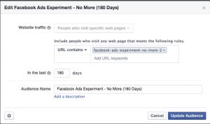 Facebook Ads Experiment No More WCA