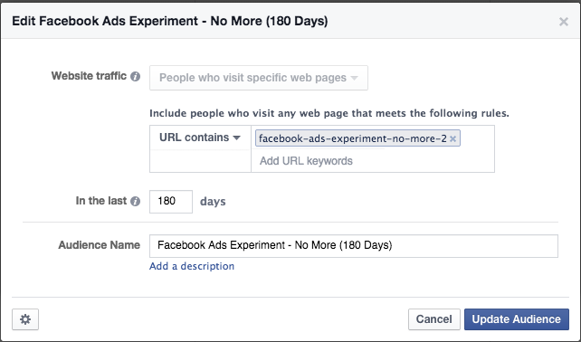 Facebook Ads Experiment No More WCA