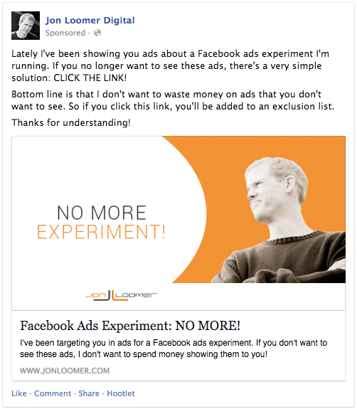 Facebook Ads Experiment No More
