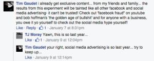 Facebook Ads Response Experiment Response