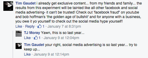 Facebook Ads Response Experiment Response