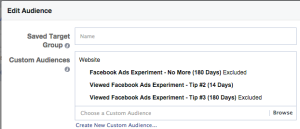 Facebook Ad Experiment Tip 3 Targeting