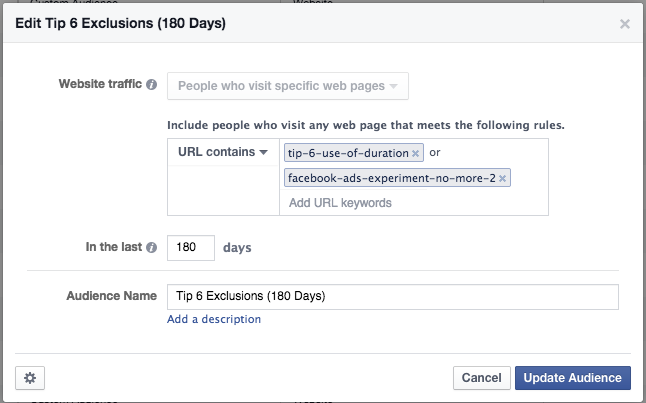 Facebook Ads Experiment Tip 6 Exclusions