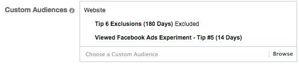 Facebook Ads Experiment Tip 6 Targeting