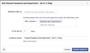 Facebook Ads Experiment Welcome Audience