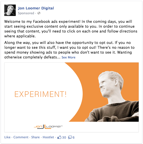 Facebook Ads Experiment Welcome