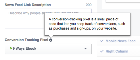 Facebook Conversion Tracking Ad Create Tool