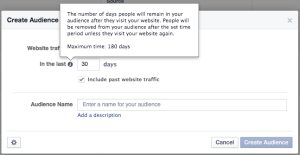 Website Custom Audience Duration
