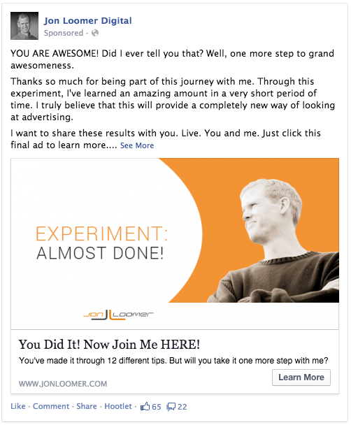 Facebook Ads Experiment Almost Done