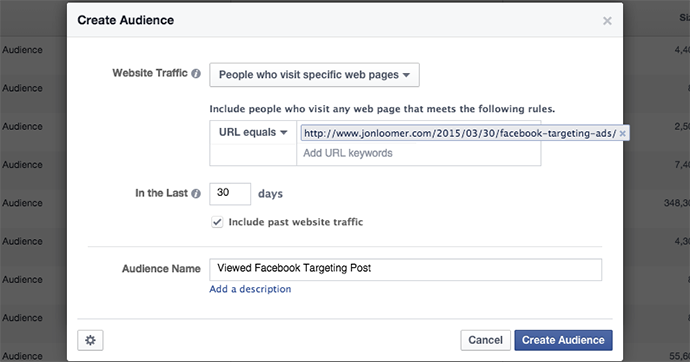 Facebook WCA URL Equals