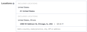 Facebook Location Targeting Exclude Address
