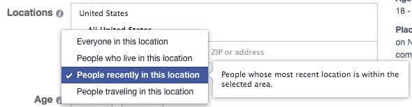 Facebook Location Targeting Recently In