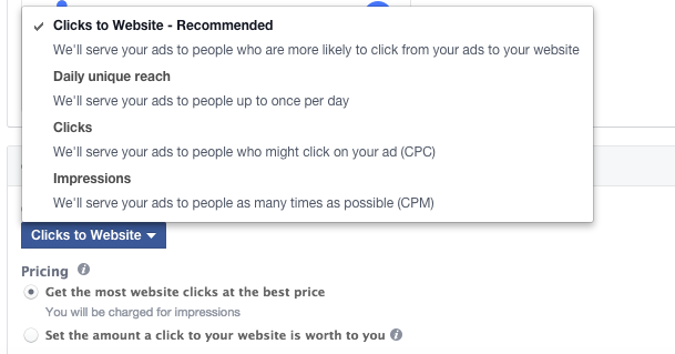 Facebook Clicks to Website Bidding