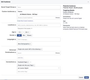 Facebook Fans Website Visitors 180 Days