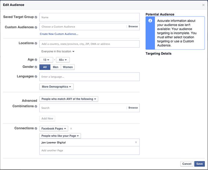 Facebook Power Editor Edit Audience