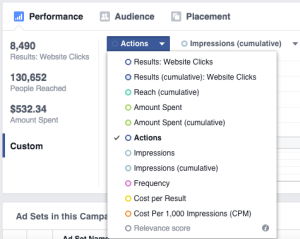New Facebook Ads Manager Actions