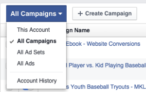 New Facebook Ads Manager All Campaigns Dropdown